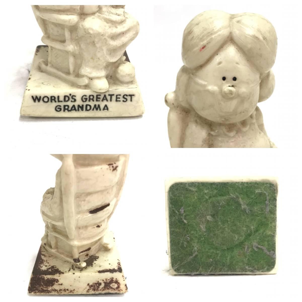メッセージドール WORLD'S GRATEST GRANDMA シリースカルプス インテリア 小物 雑貨 置物 レトロ オールド ビンテージ アンティーク D-1385_画像4