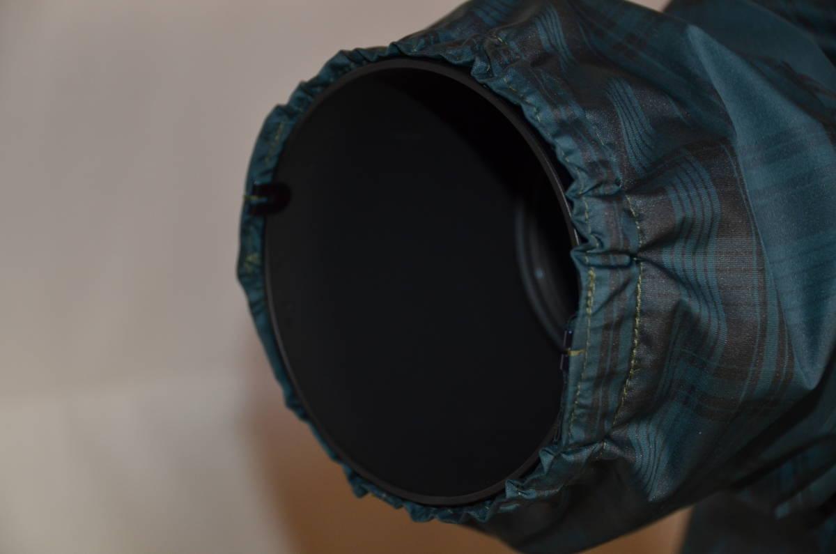 カメラ用レインカバー 長尺ズームレンズ用 グリーンチエック色   _画像3