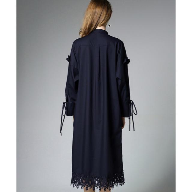 ひざ丈ワンピース シャツブラウス 裾レース ネイビー 長袖 大きいサイズ