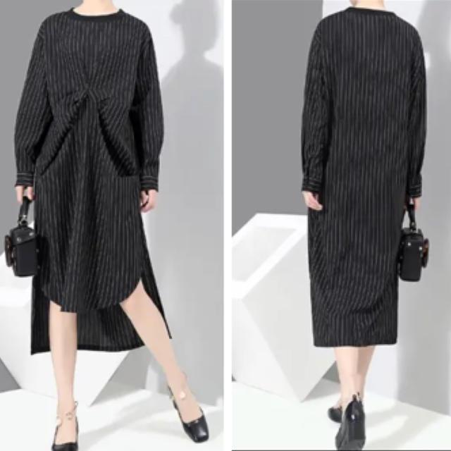 ひざ丈ワンピース 裾不規則 ストライプ柄 ブラック 長袖 大きいサイズ