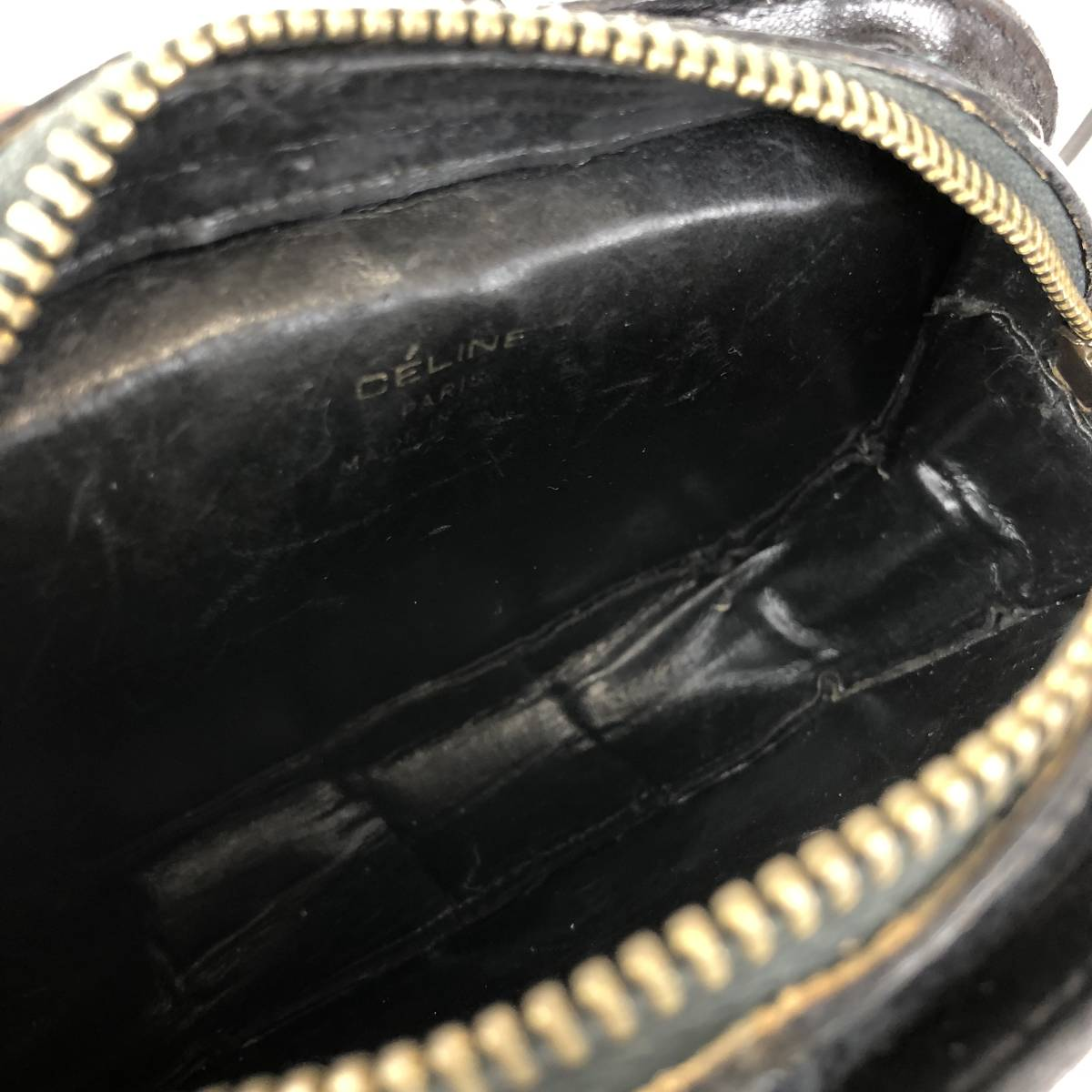 890aef20ee34 CELINE セリーヌ ショルダーバッグ クロコ型押し 馬車金具 ポシェット ブラック 黒 オールドセリーヌ ヴィンテージ vintage  EasyPaymentIcon. 出价次数: 36 出价纪录