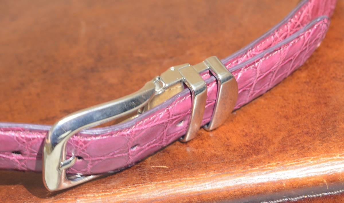 クロコダイル ベルト 男女兼用 極上 クロコ ピンク または、レッド系の希少カラー_画像8