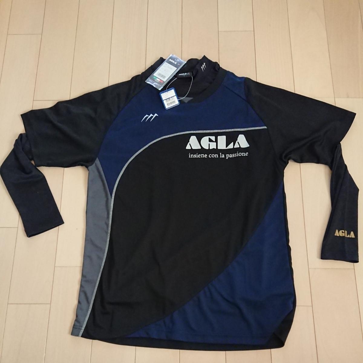 新品タグ付き AGLA 半袖プラクティスシャツ&長袖インナーシャツセット Lサイズ ブラック