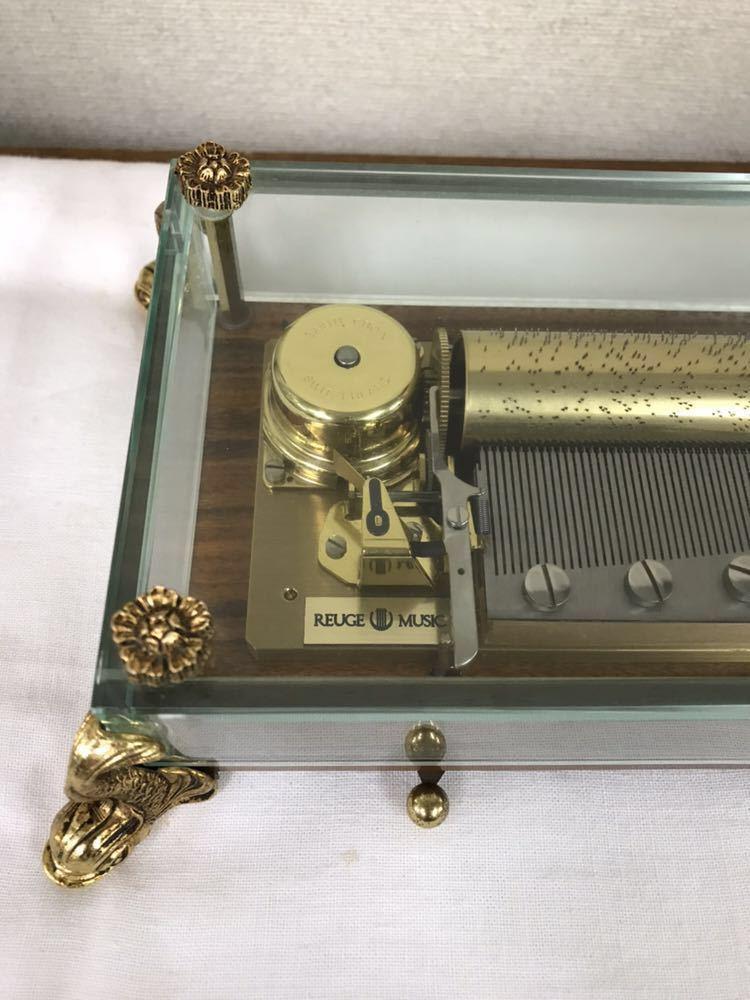 リュージュ ミュージック REUGE MUSIC CH 3/72 オルゴール ガラスボックス 72弁 クリスタルBOX 動作品 保管品 逸品_画像2
