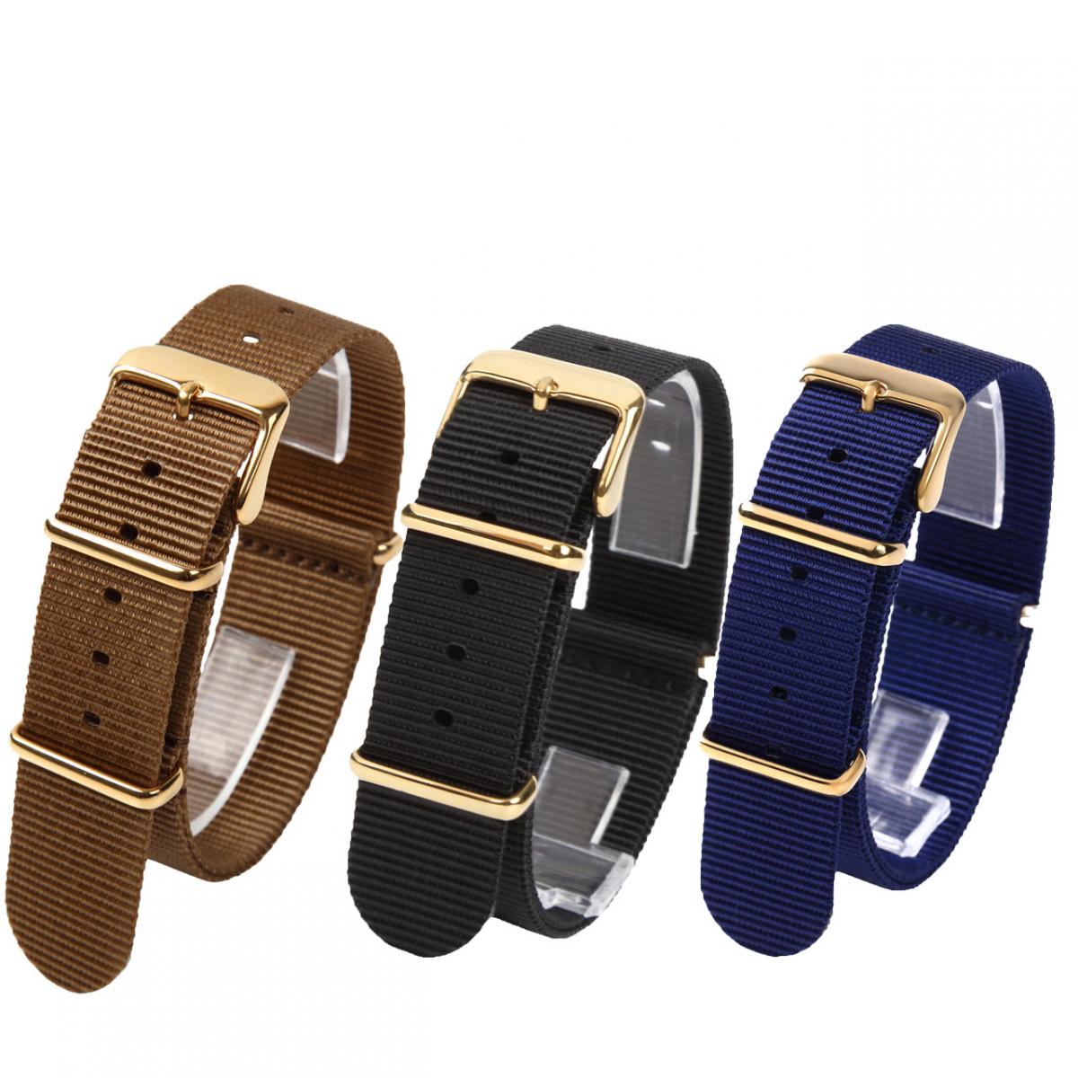 時計ベルト NATO ゴールドバックル ショートサイズ 18mm 3本セット 取付けマニュアル 腕時計バンドセット売り_画像1