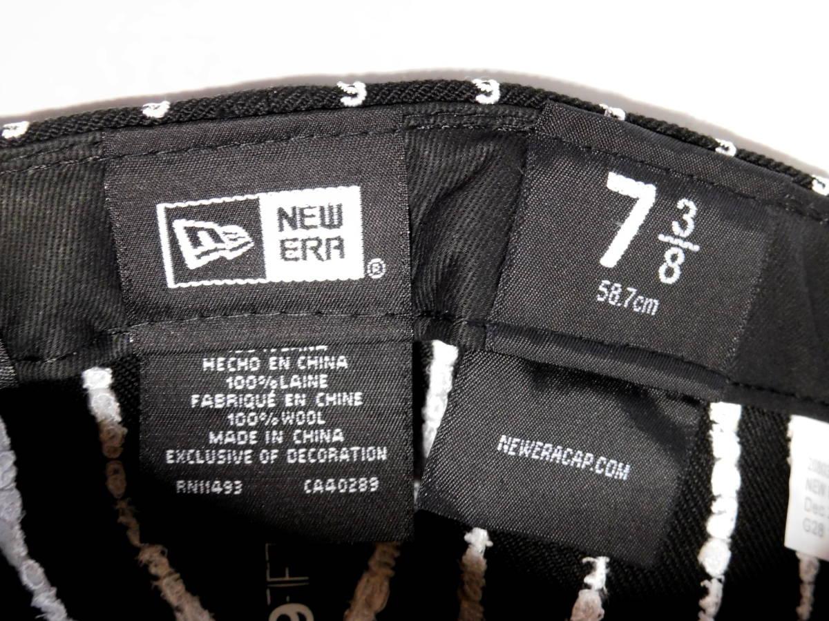 国内正規品 Supreme Text Stripe New Era Cap 7 3/8 Black 新品未使用 19SS 58.7cm 帽子 シュプリーム ニューエラ 黒 BoxボックスLogoロゴ_画像3