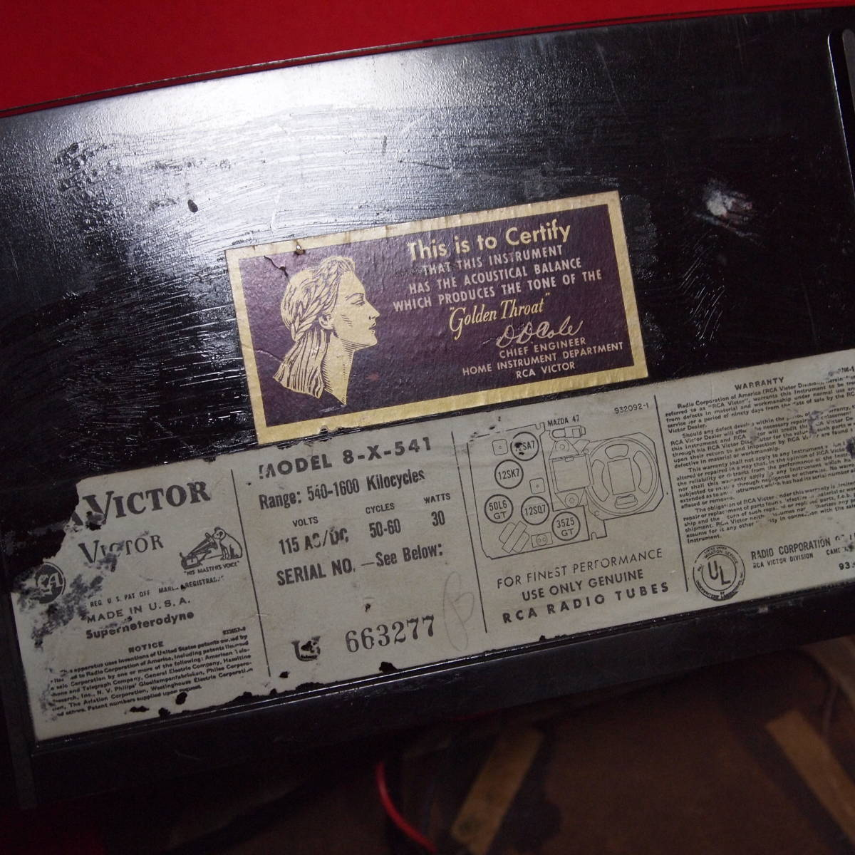 可愛い真空管ラジオ、RCAビクター、モデル8X541_画像3