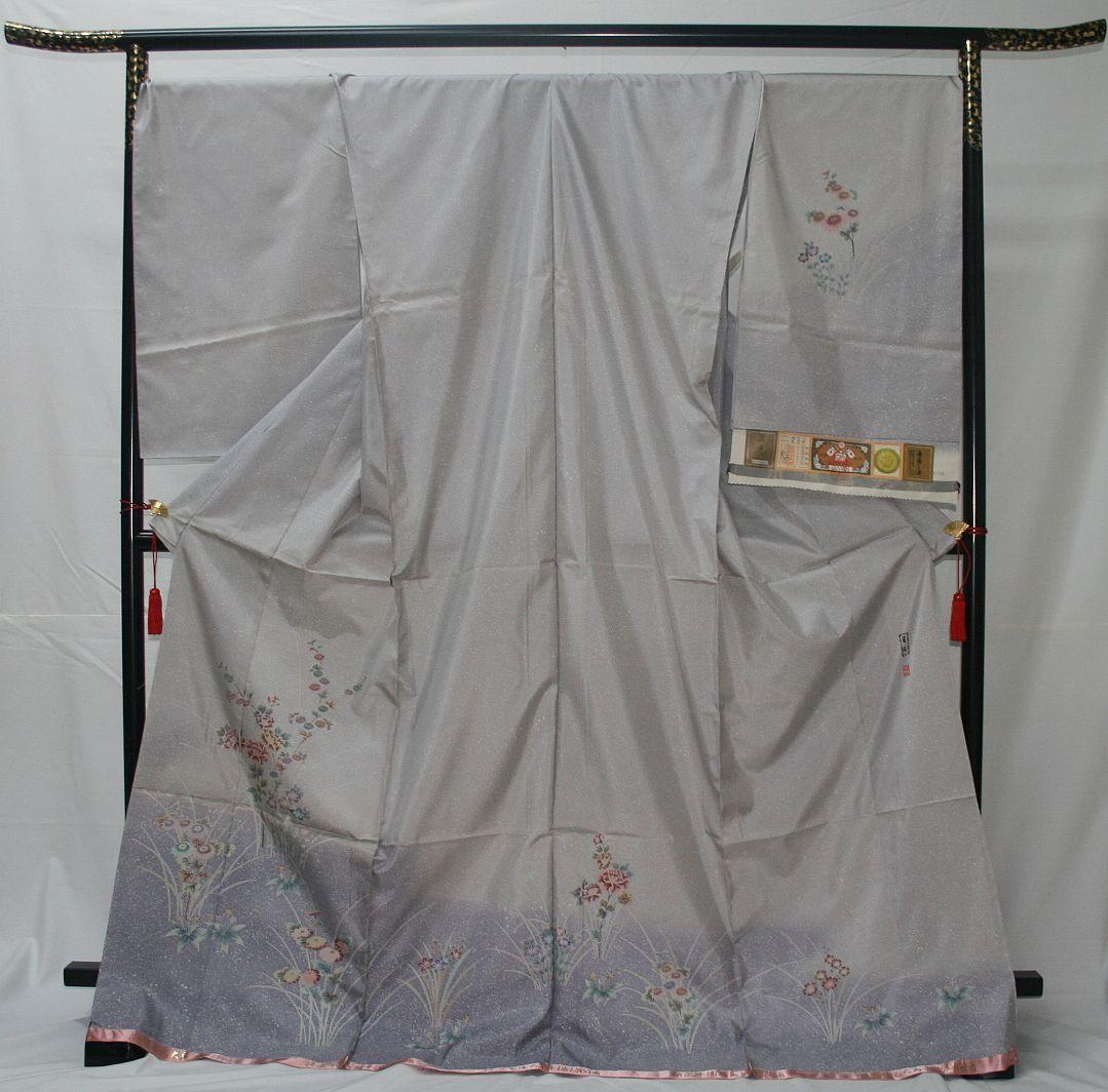 ◆高級手縫い仕立付◆本場大島証書付き◆手描きろうけつ、たたき◆訪問着NO.18_画像1