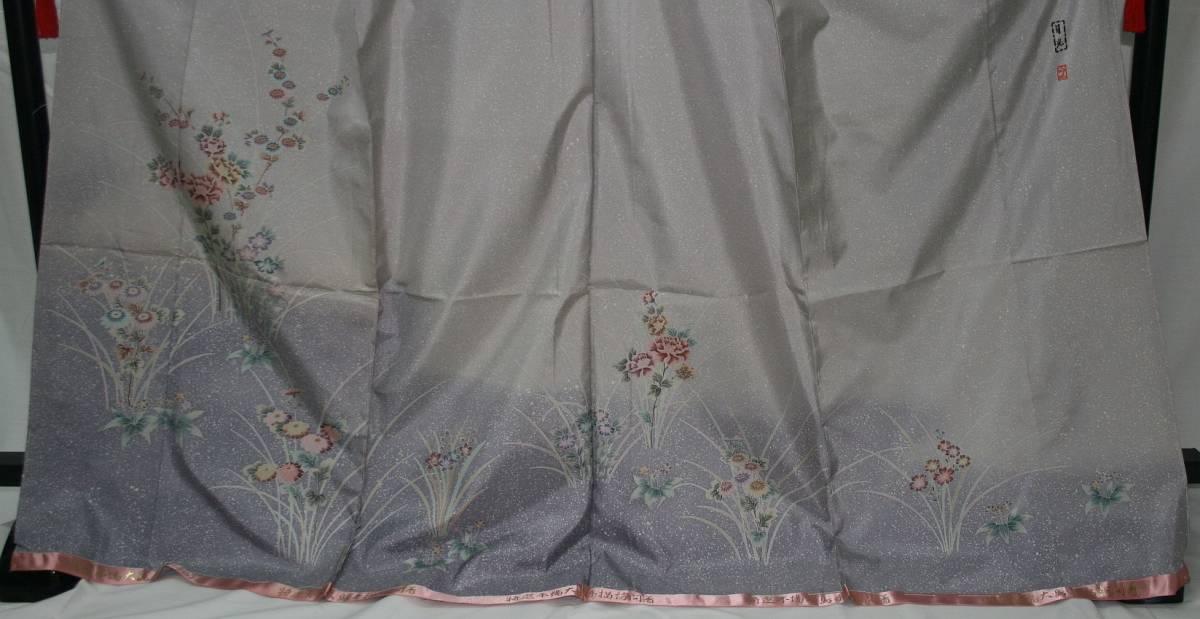 ◆高級手縫い仕立付◆本場大島証書付き◆手描きろうけつ、たたき◆訪問着NO.18_画像3