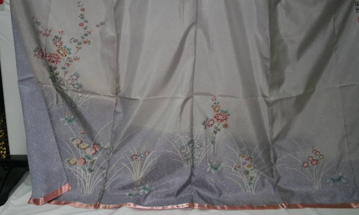 ◆高級手縫い仕立付◆本場大島証書付き◆手描きろうけつ、たたき◆訪問着NO.18_画像4