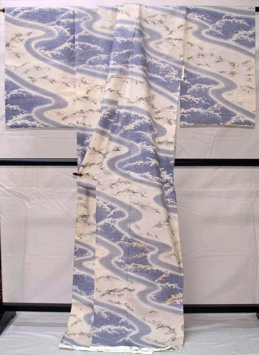 ◆無形文化財 牛首つむぎ◆高級手縫い仕立付◆手刺繍◆特別訪問着NO.14_画像2