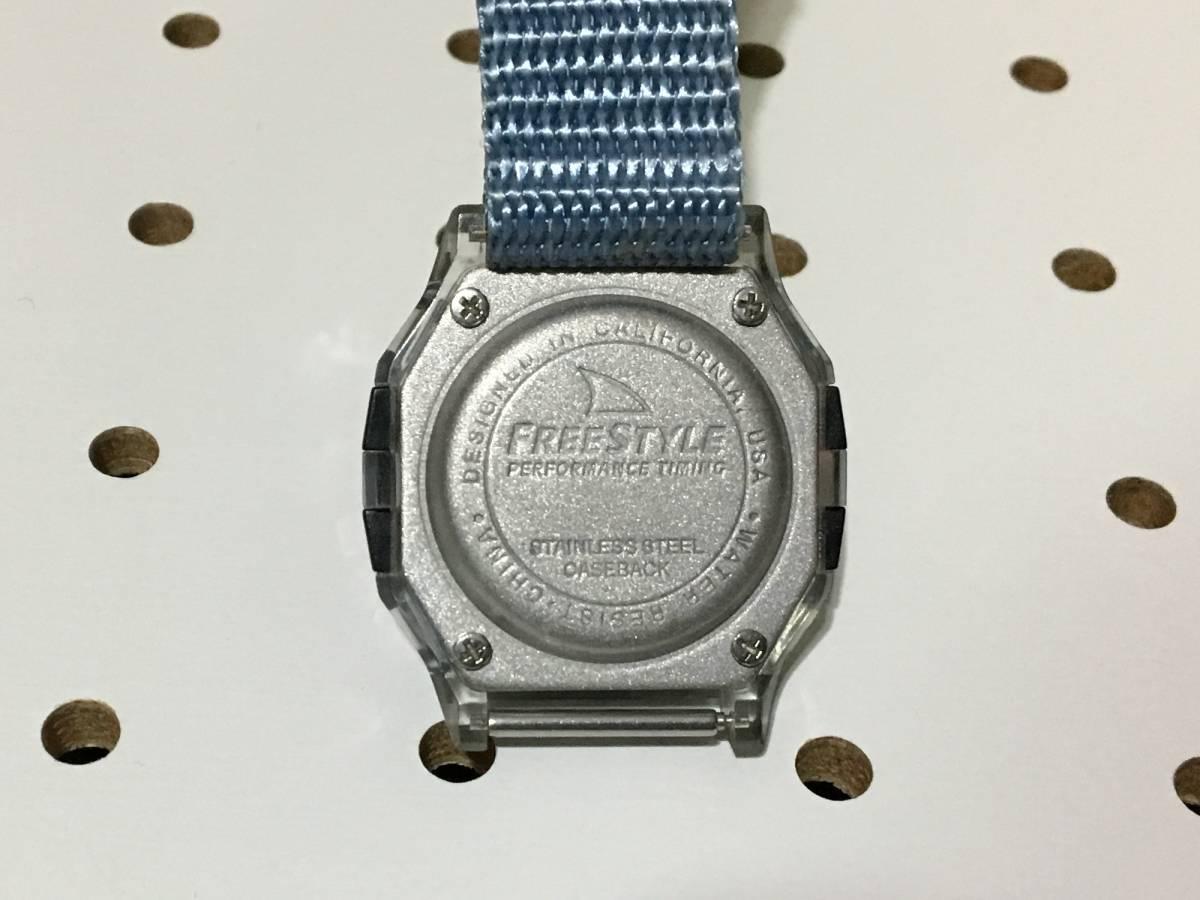[中古 ビンテージ 90s USA]FREESTYLE SHARK NIGHTVISION (300FT) フリースタイル シャーク 腕時計 ブルー クリア_画像5