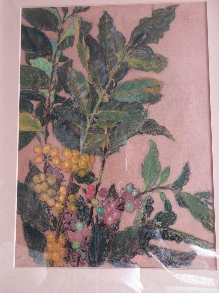 矢崎 千代二  洋画家 「コーヒー樹」 パステル画 1930年作 木製額_画像2