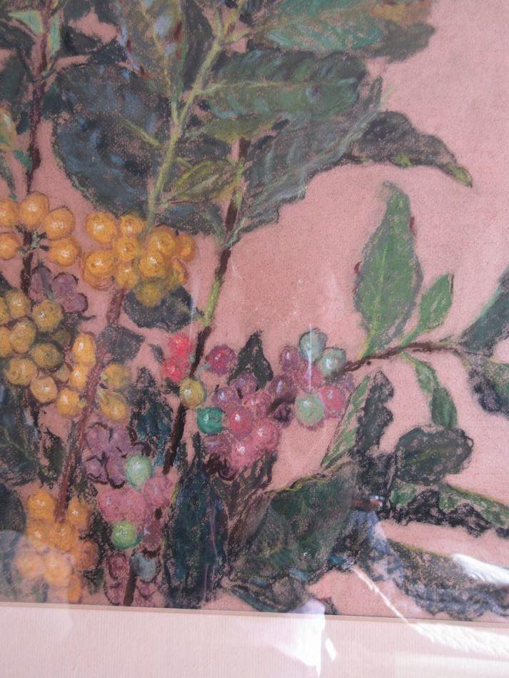矢崎 千代二  洋画家 「コーヒー樹」 パステル画 1930年作 木製額_画像4