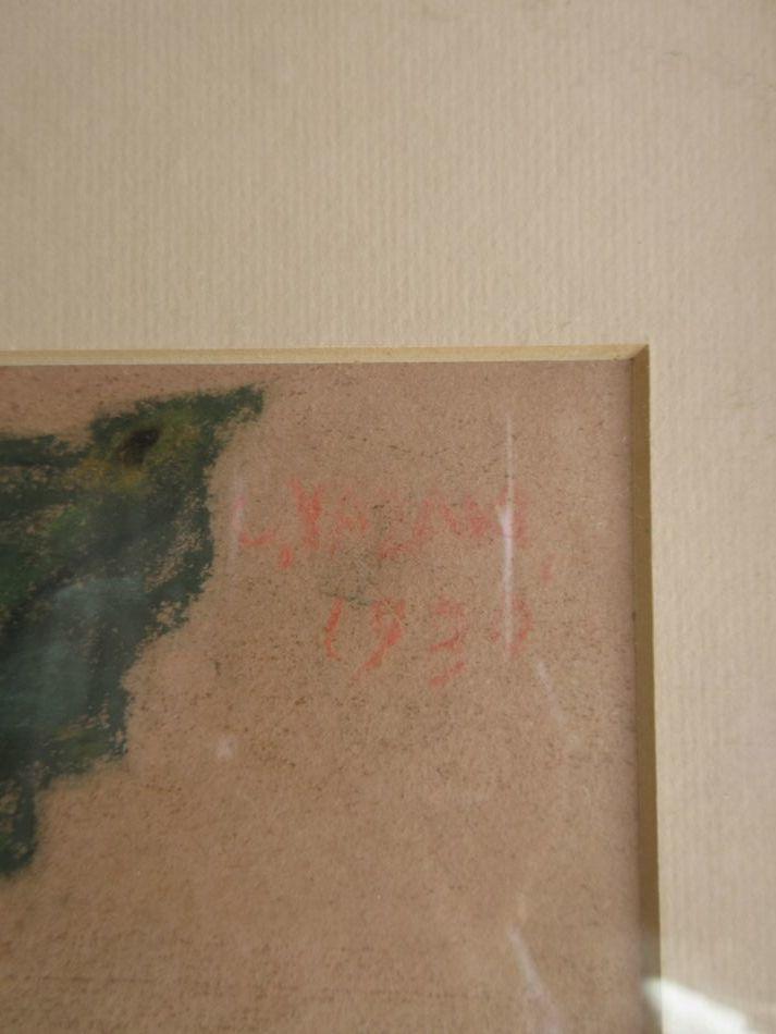 矢崎 千代二  洋画家 「コーヒー樹」 パステル画 1930年作 木製額_画像5