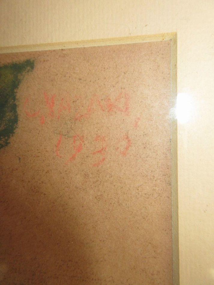 矢崎 千代二  洋画家 「コーヒー樹」 パステル画 1930年作 木製額_画像6