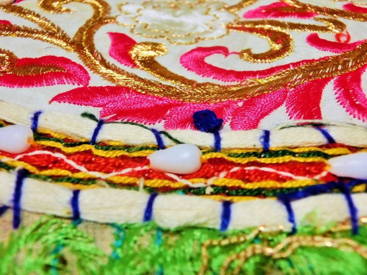 1点もの☆新品☆インド刺繍&ミラーワーク カラフル PUF(プフ)/クッションカバー/オットマン/スツール/パッチワーク【条件付送料無料】155_画像6