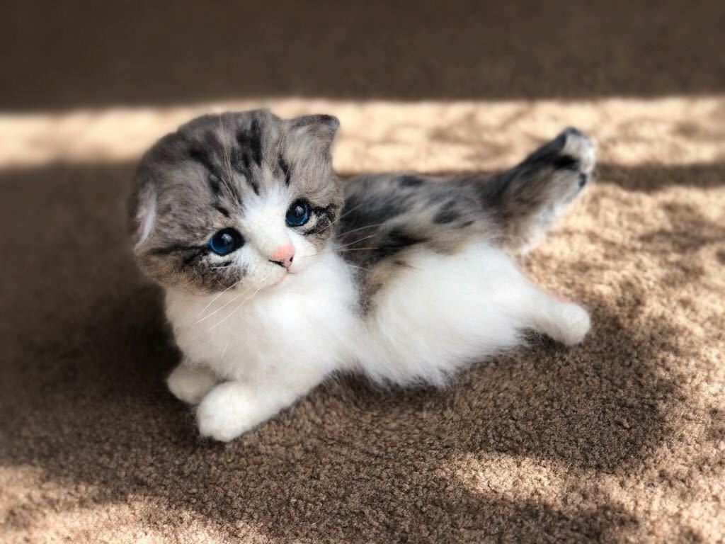 ◆sei◆ 羊毛フェルト キジトラ柄の赤ちゃん猫♪ ねこ 猫 ハンドメイド_画像2