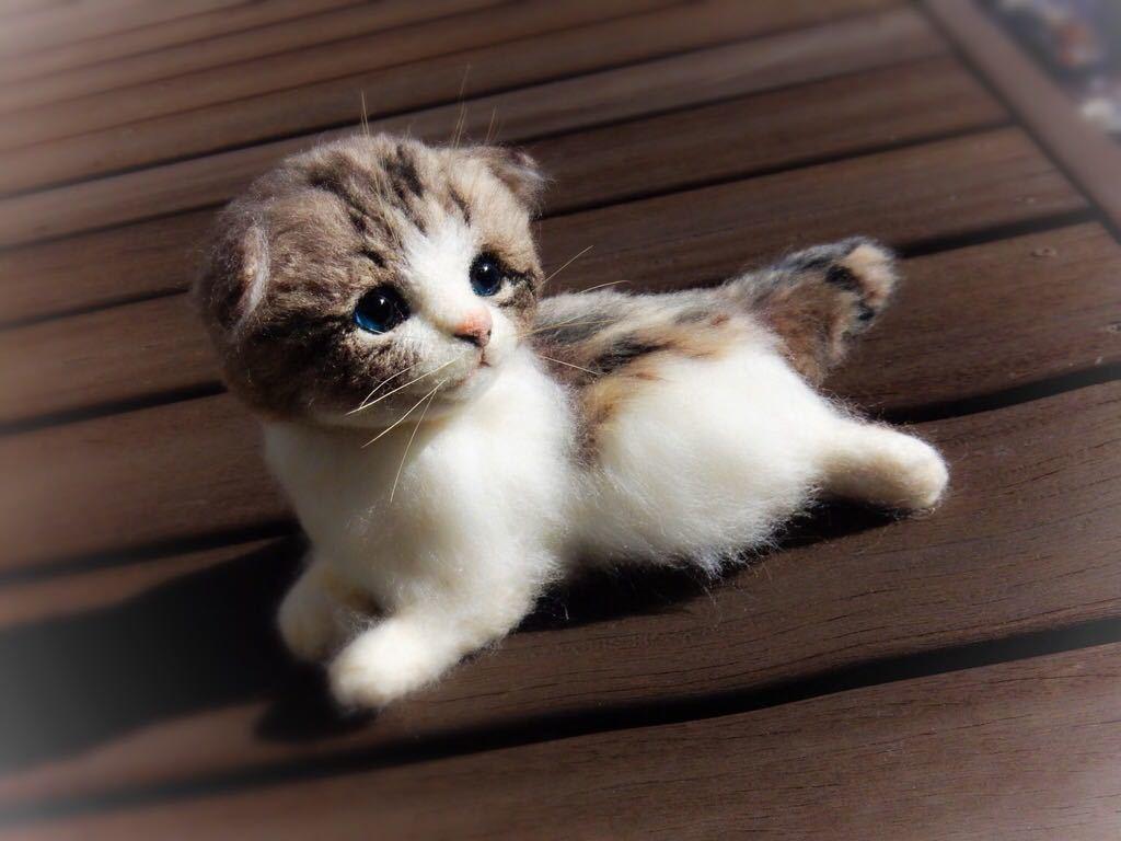 ◆sei◆ 羊毛フェルト キジトラ柄の赤ちゃん猫♪ ねこ 猫 ハンドメイド_画像9