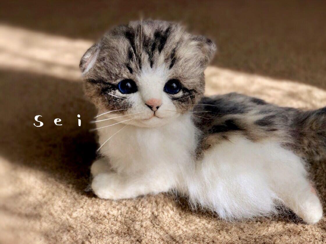 ◆sei◆ 羊毛フェルト キジトラ柄の赤ちゃん猫♪ ねこ 猫 ハンドメイド