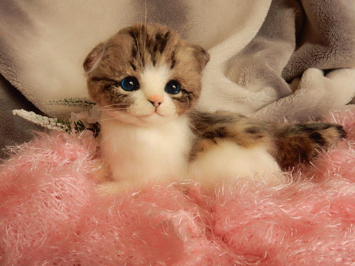 ◆sei◆ 羊毛フェルト キジトラ柄の赤ちゃん猫♪ ねこ 猫 ハンドメイド_画像6