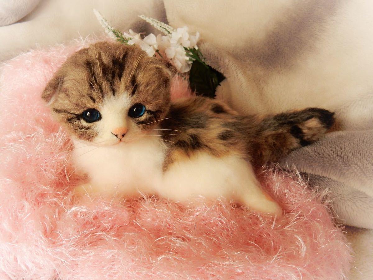◆sei◆ 羊毛フェルト キジトラ柄の赤ちゃん猫♪ ねこ 猫 ハンドメイド_画像4
