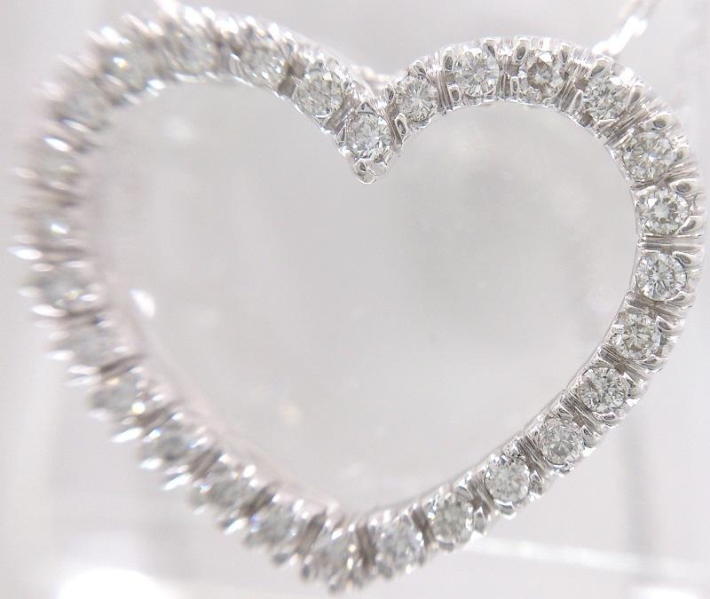 K18WG 18金ホワイトゴールド/ダイヤモンドジュエリー 0.21カラット ハート ペンダントネックレス/アズキチェーン 約40cm 美品_画像5