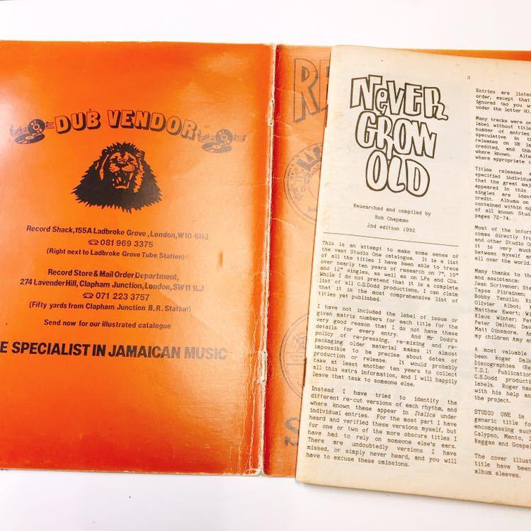 レア絶版本 スタジオ・ワン カタログ STUDIO 1 「Never Grow Old」SINGLES LISTING & RHYTHM DIRECTORY 第2版ヴァージョン _画像3