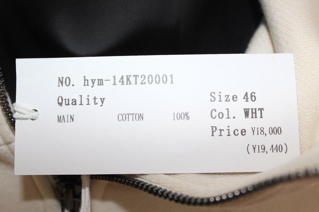エイチワイエム hym メンズ長袖ジップアップパーカ ホワイト サイズ46 日本製 新品_画像3
