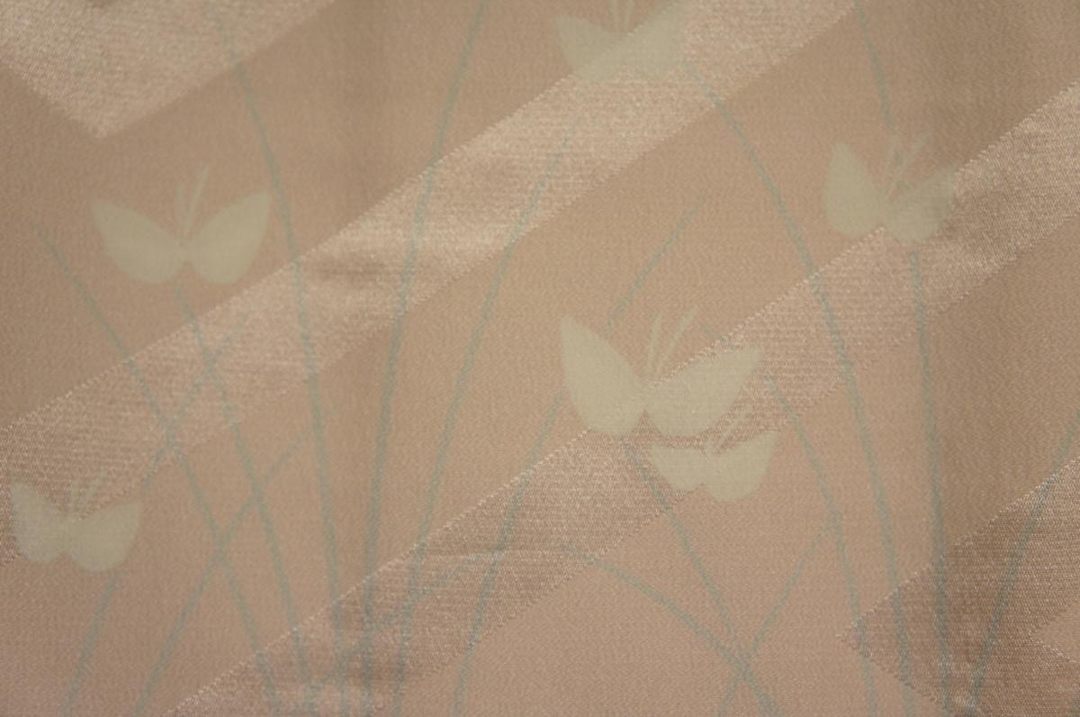 橡ねず色横段変り織地紋入り未着用道行コート[A10985]_橡ねず色横段変り織地紋入未着用道行コート