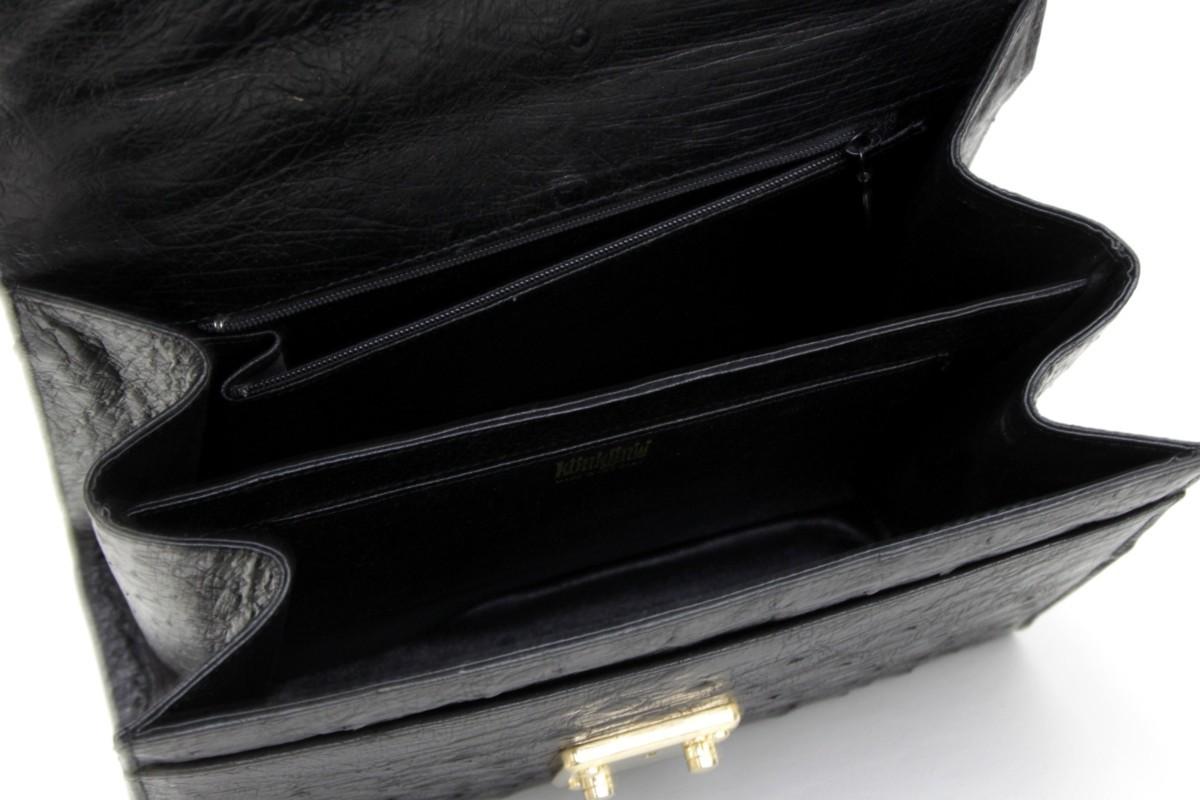 1B838☆クーニギン konigin☆ 2WAYショルダーバッグ オーストリッチ 黒 良品 <ニューポーン>_画像7