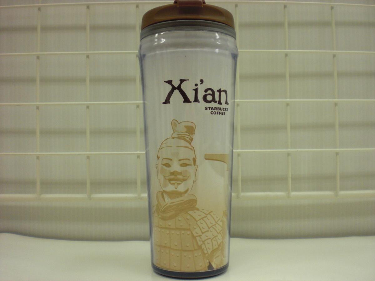 ○スタバ タンブラー 海外 中国 西安 Xi'an 12oz 35L 茶 2008 ご当地 限定 スターバックス 新品 未使用品_画像1
