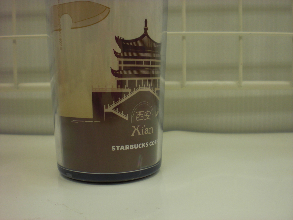 ○スタバ タンブラー 海外 中国 西安 Xi'an 12oz 35L 茶 2008 ご当地 限定 スターバックス 新品 未使用品_画像3