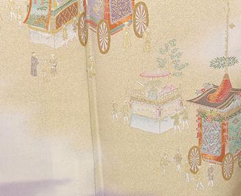 【送料無料】色留袖★正絹★寿光織 祇園祭 山鉾巡業 ki22498【美品】_画像3
