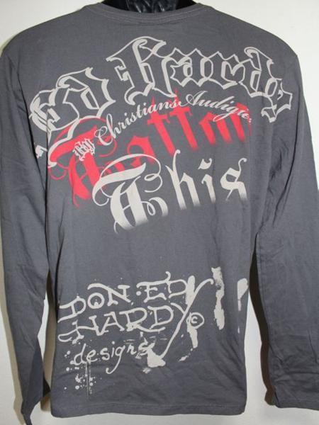 エドハーディー ED HARDY メンズ長袖Tシャツ グレー Lサイズ TL091 新品_画像3