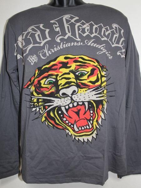 エドハーディー ED HARDY メンズ長袖Tシャツ グレー Lサイズ TL091 新品_画像1