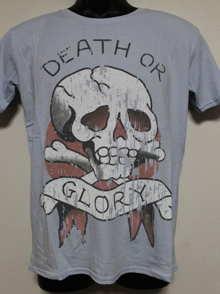 エドハーディー ED HARDY メンズ半袖Tシャツ ブルー Mサイズ UR019 新品 DEATH OR GLORY_画像1