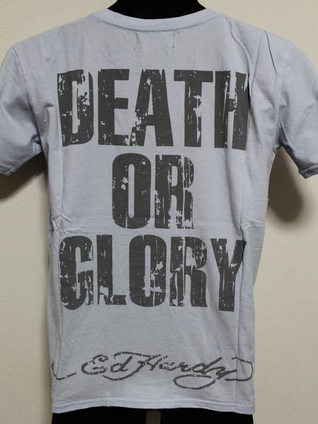 エドハーディー ED HARDY メンズ半袖Tシャツ ブルー Mサイズ UR019 新品 DEATH OR GLORY_画像4