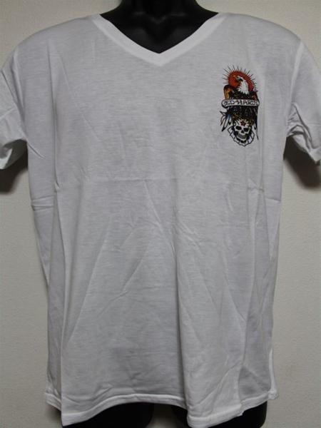 エドハーディー ED HARDY メンズ半袖Tシャツ Mサイズ ホワイト MV028 新品_画像1