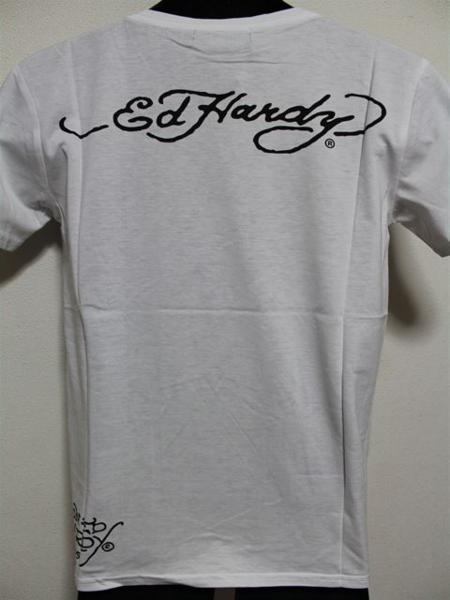 エドハーディー ED HARDY メンズ半袖Tシャツ Mサイズ ホワイト MV028 新品_画像4