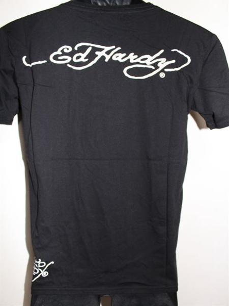 エドハーディー ED HARDY メンズ半袖Tシャツ Sサイズ ブラック VB052 新品_画像4