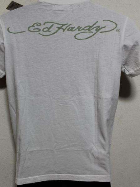 エドハーディー ED HARDY メンズ半袖Tシャツ ホワイト Sサイズ FG462 新品_画像3