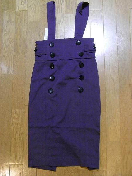 イタリア製 レディースジャンパースカート パープルSサイズ 新品_画像1