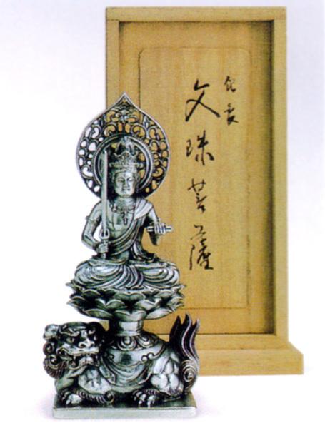 *143-3【牧田秀雲作】銀製 仏像 文殊菩薩 卯年(560g)_画像1