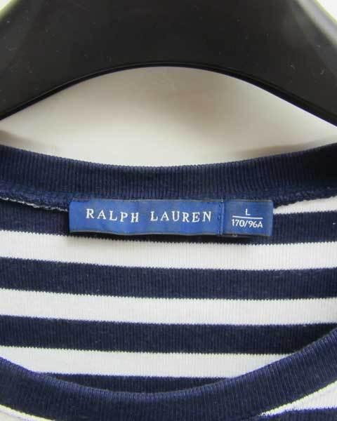 ラルフローレン RALPH LAUREN 白紺ボーダー 長袖トップス メンズ L_画像4