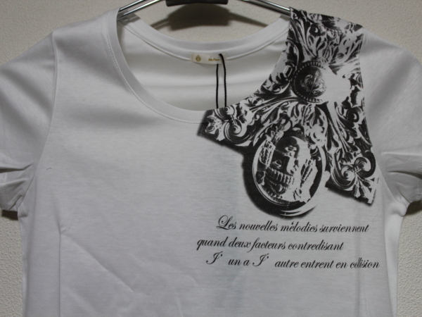 デスピエール DES PIERRE レディース半袖Tシャツ ホワイト 日本約S 新品 DPW-80019_画像2