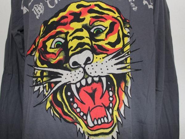 エドハーディー ED HARDY メンズ長袖Tシャツ グレー Lサイズ TL091 新品_画像2