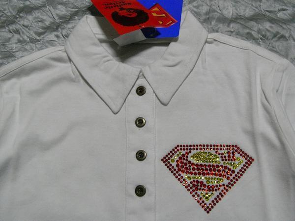 サディスティックアクション Sadistic Action スーパーマン レディース長袖ポロシャツ ホワイト NO6 新品_画像2