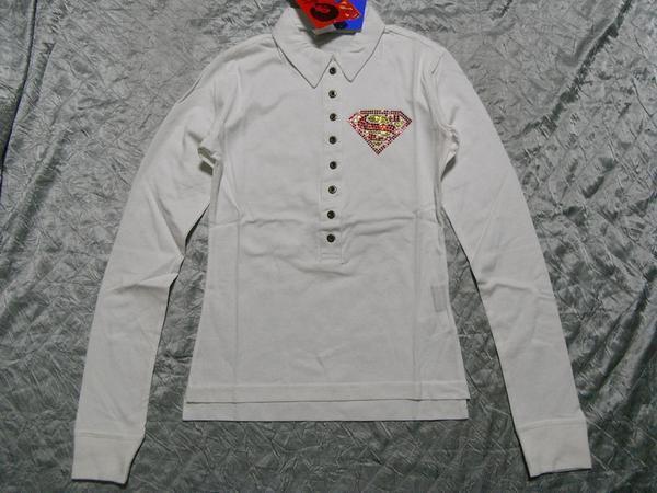 サディスティックアクション Sadistic Action スーパーマン レディース長袖ポロシャツ ホワイト NO6 新品_画像1