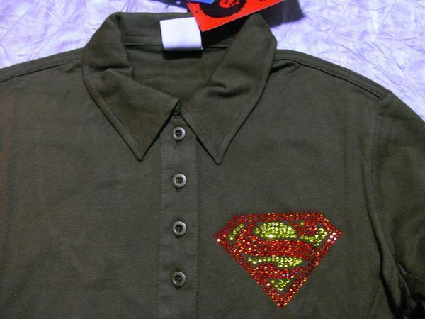 サディスティックアクション Sadistic Action スーパーマン レディース長袖ポロシャツ グリーン NO3 新品_画像2